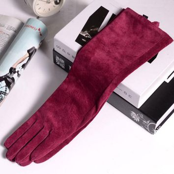Autumn and winter women's 100% genuine leather 45cm long gloves sheepskin goat leather gloves soft suede glove R097