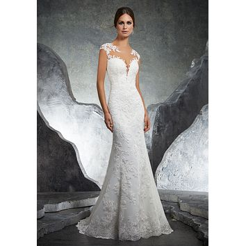 Blu by Morilee 5612 Kaylin Elegant Lace Fit and Flare Wedding Dress