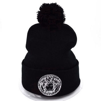 Versace Women Men Embroidery Beanies Winter Knit Hat Cap