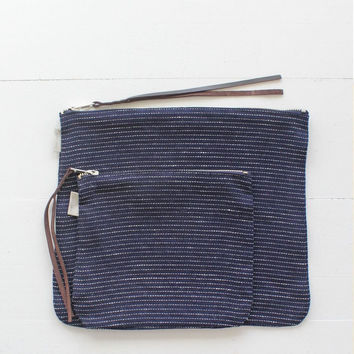 Fog Linen Canna Pouch | Navy Pinstripe Medium