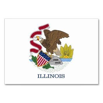 Patriotic table card with Flag of Illinois
