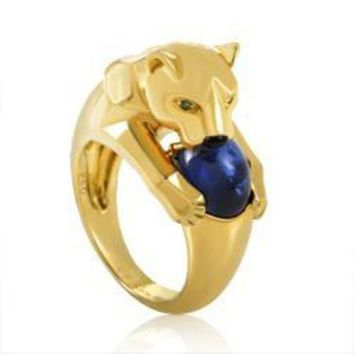 ONETOW Cartier Panthere Yellow Gold Sapphire Ring