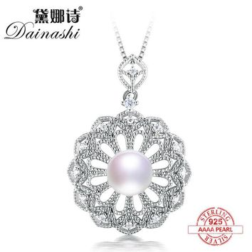 Dainashi vintage and luxury925 sterling silver pearl pendants and necklaces fine jewelry like sun flower shining bright