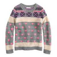 Girls' heart Fair Isle sweater - sweaters - Girl's new arrivals - J.Crew