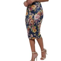 Blue Roses Suede Skirt
