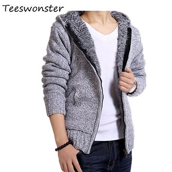 Men Knitting Sweaters Mens Knitted Sweater turtleneck Hooded male brand clothing long blusas mens coat pull homme