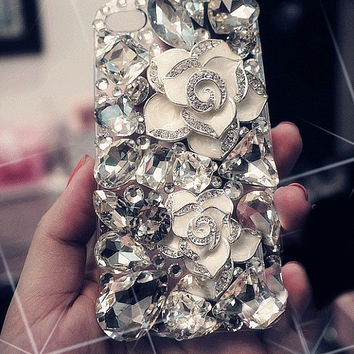 Handmade Bling sparkle diamond crystal pearl Rhinestone iPhone 4 4s iPhone 5 5s 5c case cover samsung s3 s4 note2 note3 case 3D flowers