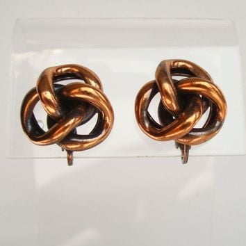 Copper Knot Clip On Earrings Renoir Era Vintage Jewelry