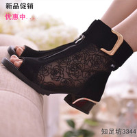 2015women's spring and summer shoes open toe sandals lace net boots thick heel sandals gauze  size35-39