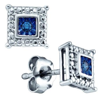 Sterling Silver Womens Round Blue Colored Diamond Stud Earrings 1/20 Cttw