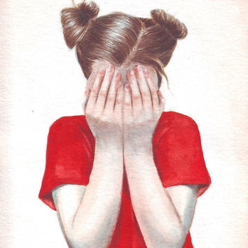 HM095 Original art watercolor painting Girl in Red by Helga McLeod