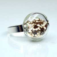 Champagne color big glitter in round blown glass silver tone Ring