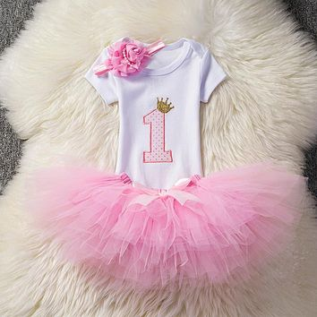 Brand Baby First 1st Birthday Outfit Tutu Bebes Little Girl Clothing Christening Suits Newborn Baptism Clothes Pink Purple Dress