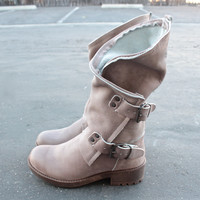 Alida leather motorcycle boots in stone