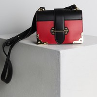 AKIRA Faux Leather Strap Fastening Shoulder Bag in Red, Blue