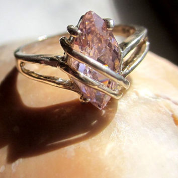 925 stamped sterling silver genuine pink topaz ring size 7 makers mark GA quality November birthstone sterling promise ring