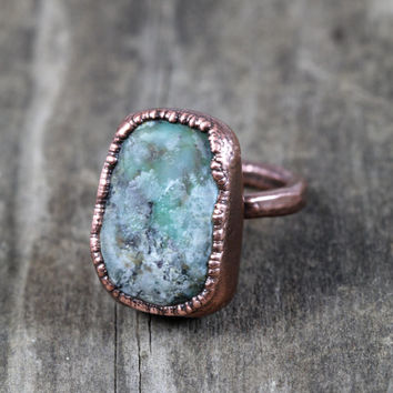 Raw Crystal Ring Big Ring Turquoise and Copper Cocktail Ring