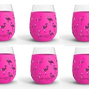 Wine Glass  18oz Indoor and Outdoor Glass with Protective Silicone Sleeve  Set of 2  Flamingo