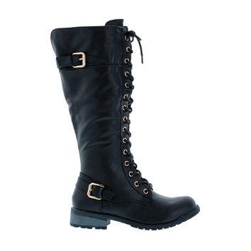 Lace Up 2Buckle Combat Boot