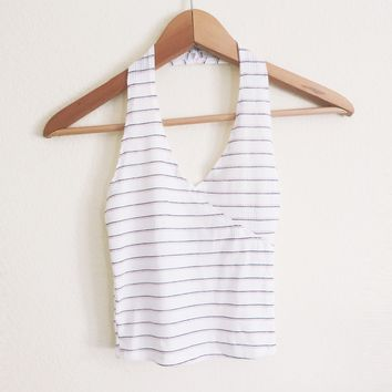 Mona White Striped Ribbed Halter