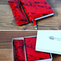 Red leather notebook Leather pens case A6 handmade journal leather Pencil case Fits 2 Pens Womens red leather handbound diary Pens holder