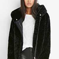 Plush Hooded Zip-Front Jacket