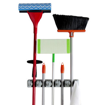 Evelots Mop & Broom Holders,5 Position W/ 6 Hooks,Storage,Each Holds 11