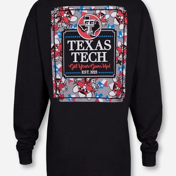 Texas Tech Raider Red Frocket on Black Long Sleeve Shirt