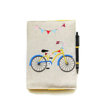 A5 notebook and pen, blue and yellow bicycle with bunting flags gift set, journal cover, reusable notebook cover, embroidered linen.
