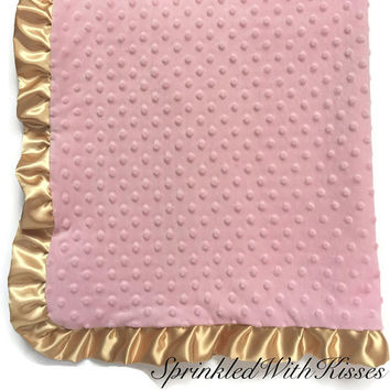 Minky baby blanket | pink minky baby blanket | gold ruffle baby blanket | gold dots blanket | gold nursery | pink and gold baby blanket