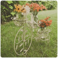 Shabby chic bicycle candle-flower-plant holder. Wedding programs, garden, party. Ivory.