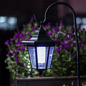 26 Inch Solar Lights Outdoor, Hanging solar Coach Lantern with 2 Shepherd Hooks (1 Pack)
