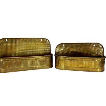 Wall Planters Brass Pair of Hanging Oblong Flower Pots Oval Indoor Garden Trough Container Patina Home Office Decor