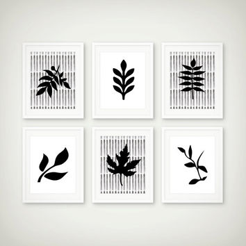Leaf Art Print Set - Minimal Decor - Botanical Art  - Set of 6 Prints
