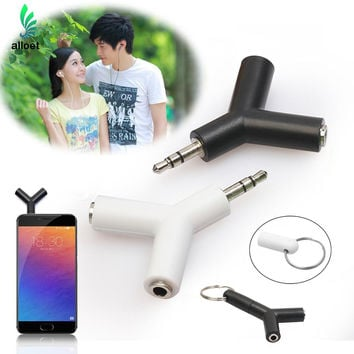 1 In 2 Double 3.5mm Jack Adapter to Headphone for Samsumg for iPhone MP3 Player Earphone Splitter Adapter white black