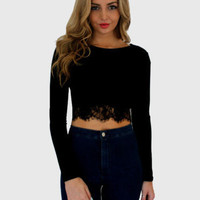 Long Sleeve Eyelash Lace Bodycon Cropped Top