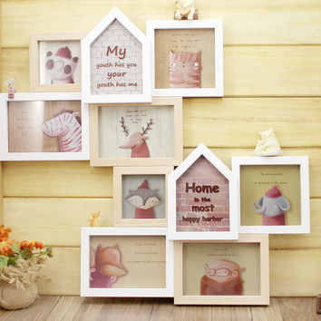 Vintage multi picture frames Wooden Photo Frame Multi 5 Picture Hanging Wood Craft gift Wall Photo Frame for Wedding Decoration