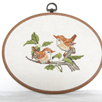 Bird Needlepoint Cross Stitch Framed Wall Hanging Embroidered Birds French Country Home Decor Bird Lovers Art Oval Frame