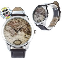 Old World Map Wristwatch, Watch with Black Leather Band, Watch for Men and Women
