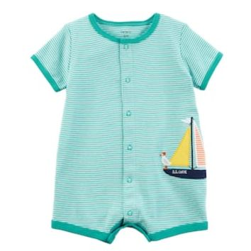 Baby Boy Carter's Striped Sailboat Romper | null