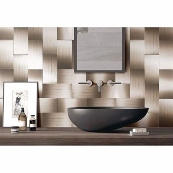 ONETOW 32 Pieces Peel and Stick Backsplash 3in x 6in Brushed Copper Long Grain Metal Tile for Kitchen and Bathroom