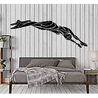 Wall Vinyl Decal Swimming Diving Dive Swim Water Sport Home Decor Unique Gift z4405