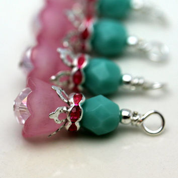 Pink with Baby Bell Lucite Flower with Turquoise Czech Bead Dangle Charm Drop Set - 4 Piece Set