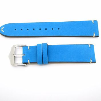 20 22mm New Men Women Genuine Cowhide Suede Leather Handmade Stitch Sky Blue Watch Band Strap Belt Silver Polished Pin Buckle