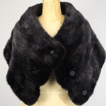 Vintage Black Mink Fur Wrap / Stole with Scallop Edge and Buttons