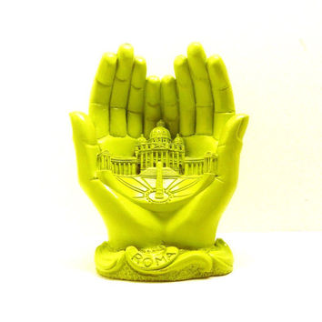 vatican praying hands figurine  //  neon lime green chartreuse  //  kitsch religious collectible, pope, roma, italian, catholic