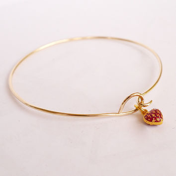 Gold Filled Hook On Bracelet with Heart