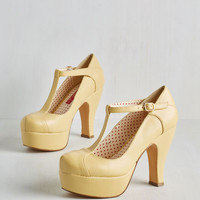 Vintage Inspired Birthday Bashful Heel in Lemon Meringue by Bait Footwear from ModCloth