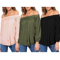 Off the Shoulder Buttoned Long Sleeve Blouse