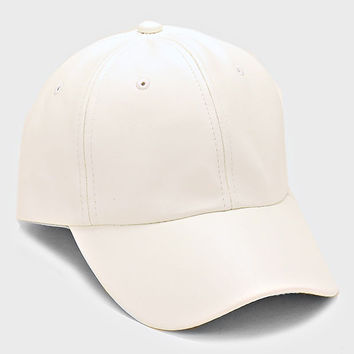 Faux Leather Pastel Weekend Baseball Hat - White